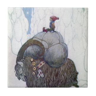Cabra sueca del navidad - Jullbocken Azulejo