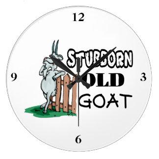 Cabra vieja obstinada reloj redondo grande