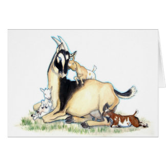 Cabra y niños enanos nigerianos lindos tarjeta de felicitación