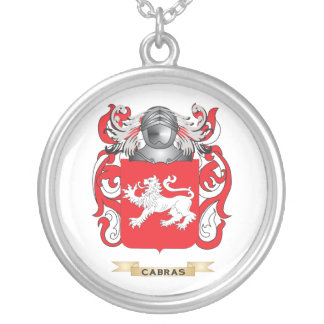 Cabras Coat of Arms (Family Crest) Round Pendant Necklace