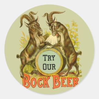 Cabras de la cerveza de Bock Pegatina Redonda