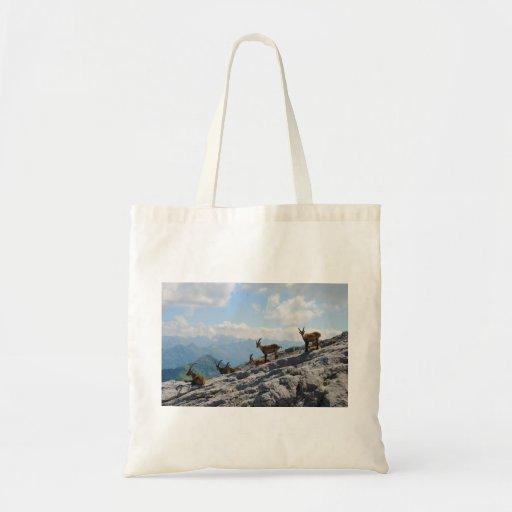 Cabras de montaña salvajes del cabra montés alpino bolsa de mano