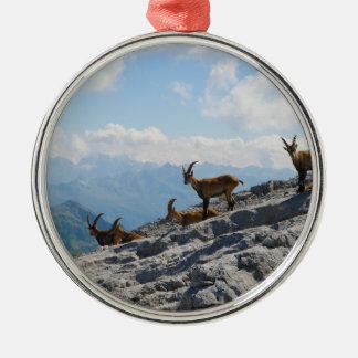 Cabras de montaña salvajes del cabra montés alpino adorno de navidad