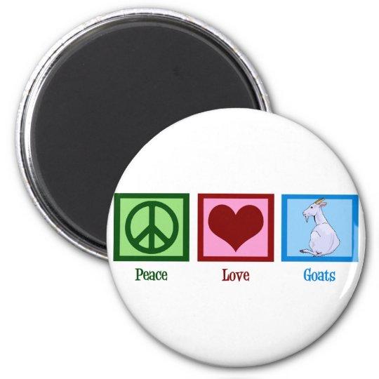 Cabras del amor de la paz imán redondo 5 cm