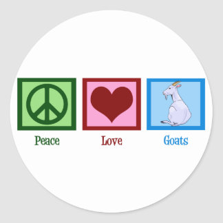 Cabras del amor de la paz etiqueta redonda