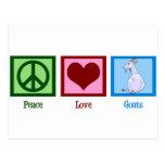 Cabras del amor de la paz postales