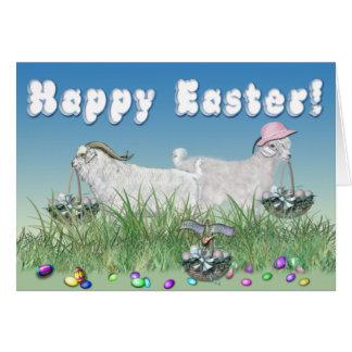 Cabras felices del angora de Pascua Tarjeta De Felicitación