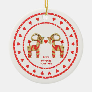 Cabras suecas de la paja 40 años de junto anticuad adorno