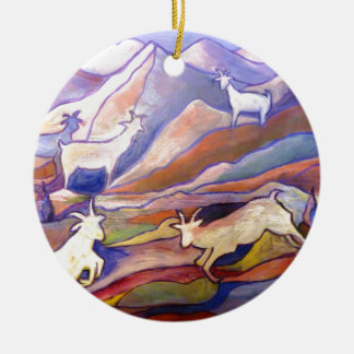 Cabras y montañas adorno navideño redondo de cerámica