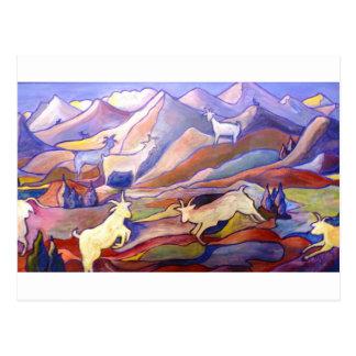 Cabras y montañas postal