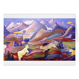 Cabras y montañas tarjeta de felicitación