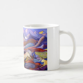 Cabras y montañas taza de café