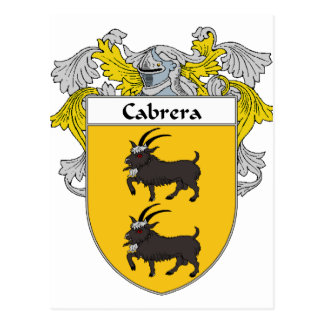 Cabrera Coat of Arms/Family Crest (Mantled) Postcard