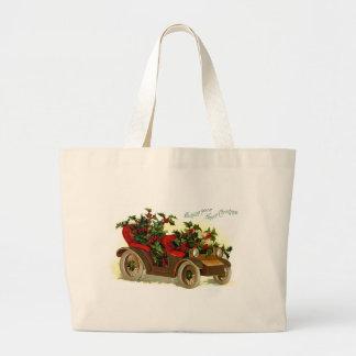 Cabriolé llenado de navidad del vintage del acebo bolsa de tela grande