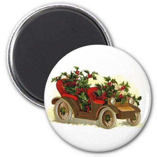 Cabriolé llenado de navidad del vintage del acebo iman de frigorífico