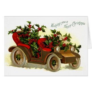 Cabriolé llenado de navidad del vintage del acebo tarjeta de felicitación
