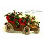 Cabriolé llenado de navidad del vintage del acebo postal