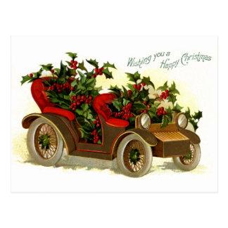 Cabriolé llenado de navidad del vintage del acebo tarjetas postales