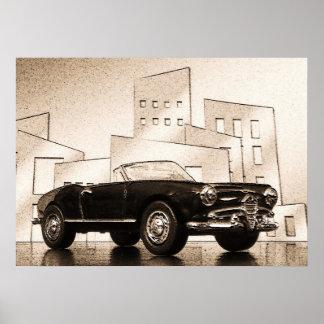 Cabriolet - digital Artwork Jean Louis Glineur Poster