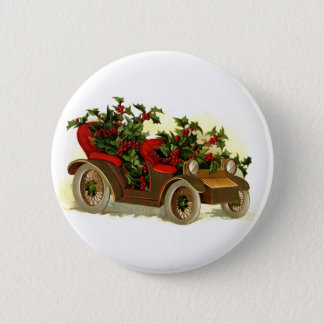 Cabriolet Filled With Holly Vintage Christmas Button