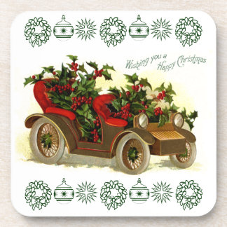Cabriolet Filled With Holly Vintage Christmas Coaster