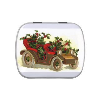 Cabriolet Filled With Holly Vintage Christmas Jelly Belly Tins