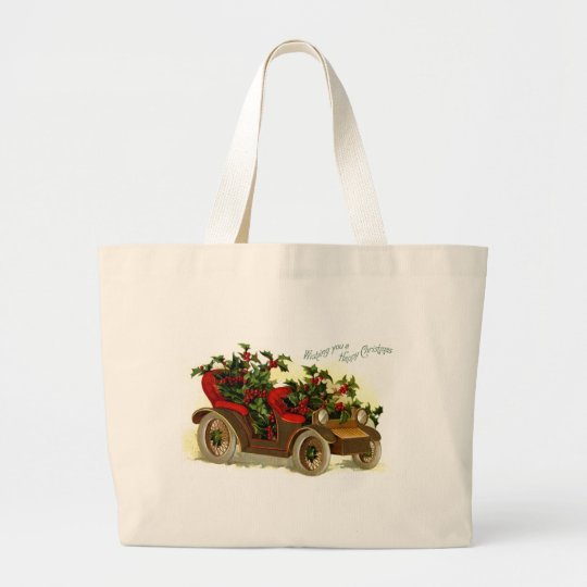 Cabriolet Filled With Holly Vintage Christmas Large Tote Bag