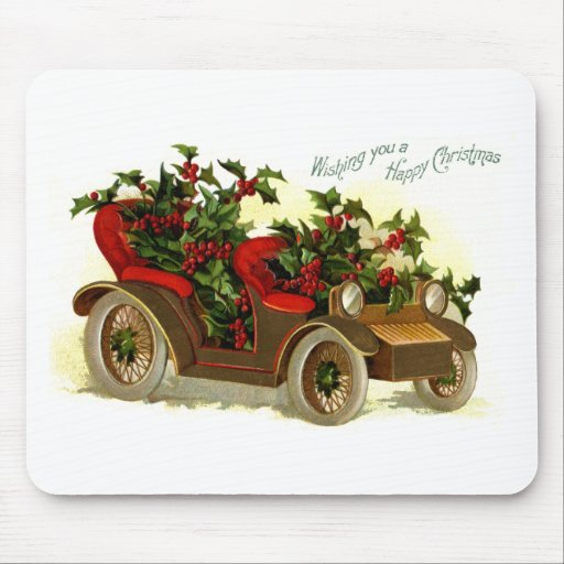 Cabriolet Filled With Holly Vintage Christmas Mousepad