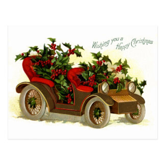 Cabriolet Filled With Holly Vintage Christmas Postcard