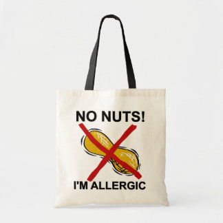 Cacahuete NINGUNAS nueces soy alérgico Bolsas Lienzo