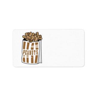cacahuetes asados calientes etiquetas de dirección