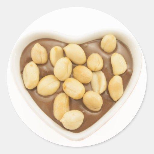 Cacahuetes en el chocolate pegatinas redondas