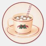 Cacao caliente 1 del navidad - pegatinas del día etiquetas redondas