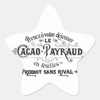 Cacao francés del vintage - anuncio de Payraud Pegatina En Forma De Estrella