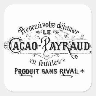 Cacao francés del vintage - anuncio de Payraud Pegatina Cuadrada
