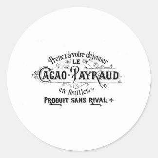 Cacao francés del vintage - anuncio de Payraud Pegatina Redonda