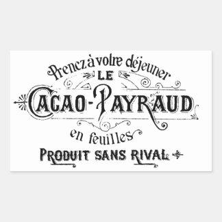 Cacao francés del vintage - anuncio de Payraud Pegatina Rectangular
