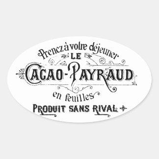 Cacao francés del vintage - anuncio de Payraud Pegatina Ovalada