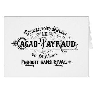 Cacao francés del vintage - anuncio de Payraud Tarjeta De Felicitación