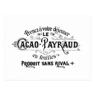 Cacao francés del vintage - anuncio de Payraud Tarjeta Postal