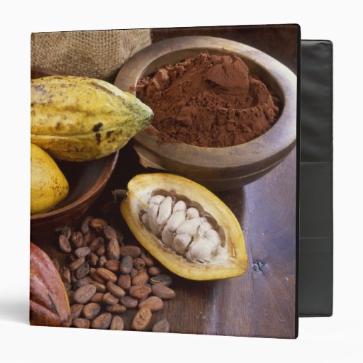 Cacao pod containing cacao beans which are 3 ring binder