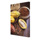Cacao pod containing cacao beans which are canvas print