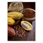 Cacao pod containing cacao beans which are card