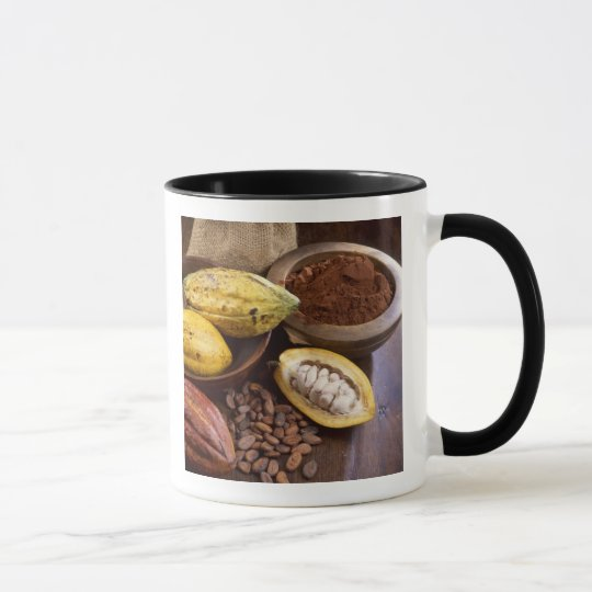 Cacao pod containing cacao beans which are mug