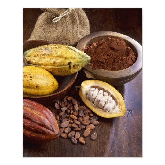 Cacao pod containing cacao beans which are photo print