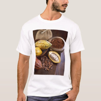 Cacao pod containing cacao beans which are T-Shirt