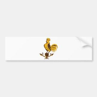 cacareo del pollo del gallo retro etiqueta de parachoque