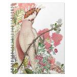 Cacatúa rosa,sobre manto de flores libretas