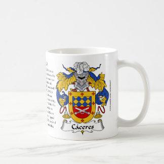 Caceres, el origen, el significado y el escudo taza de café