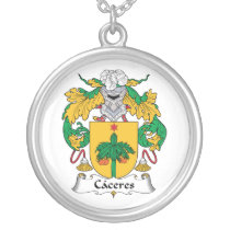 Caceres Family Crest Silver Plated Necklace